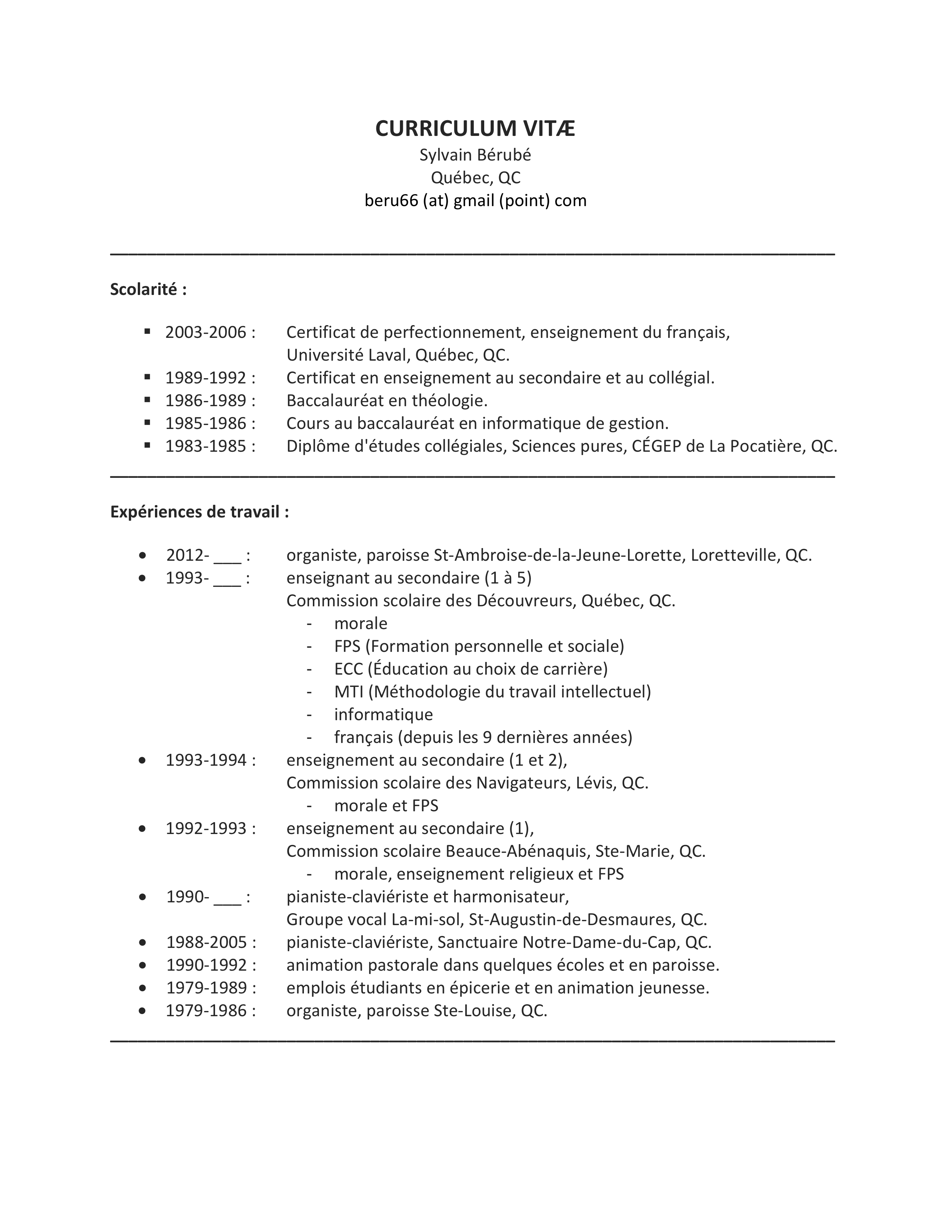 resume format  cv enseignant universit u00e9