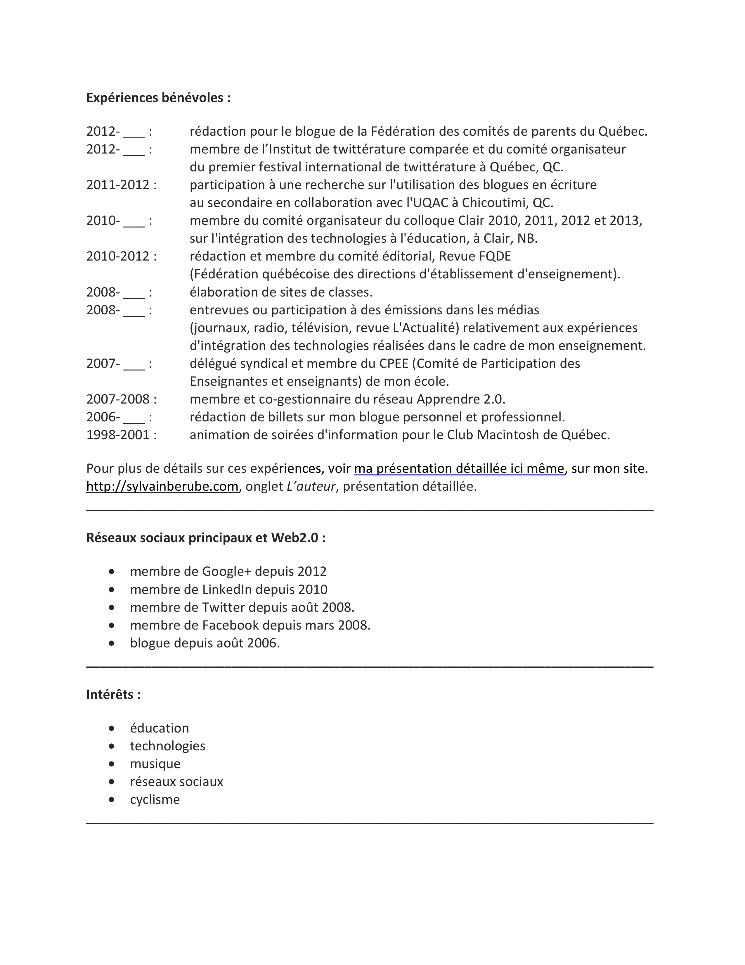 resume format  cv enseignant secondaire